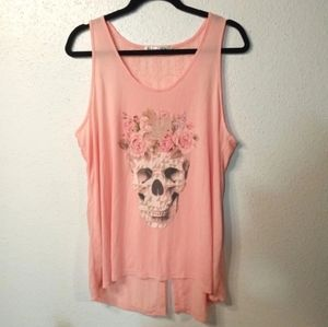 Peach tank top with skull and flowers